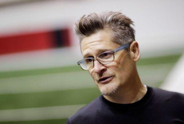 Atlanta Falcons general manager Thomas Dimitroff answers questions