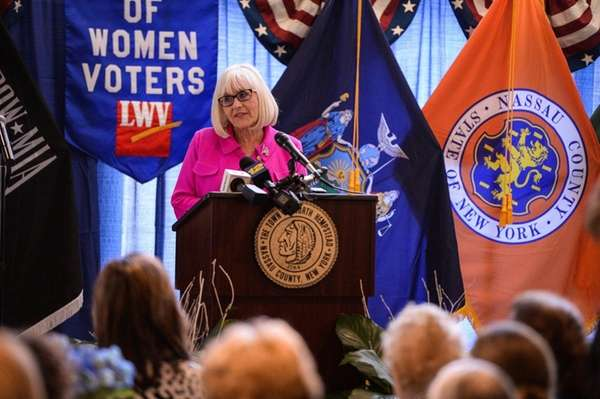 North Hempstead Town Supervisor Judi Bosworth delivers the
