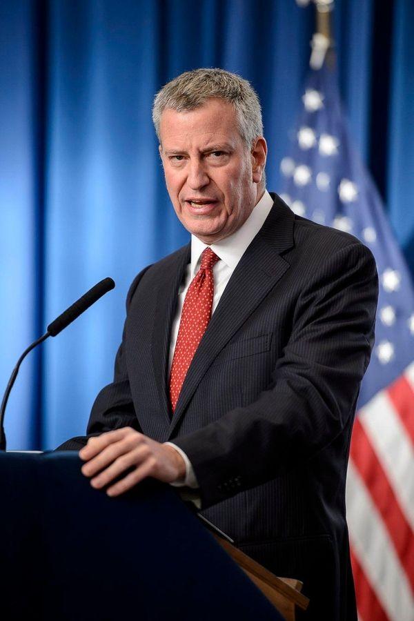 NYC Mayor Bill de Blasio is shown speaking