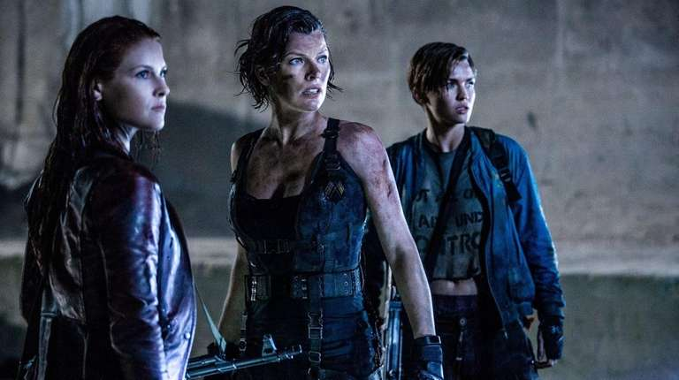 Ali Larter, left, Milla Jovovich and Ruby Rose