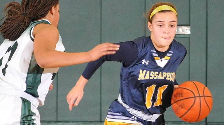 Morgan Camarda #11 of Massapequa, left, gets pressured