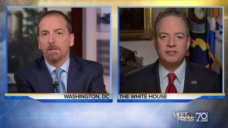 White House Chief of Staff Reince Priebus, right,