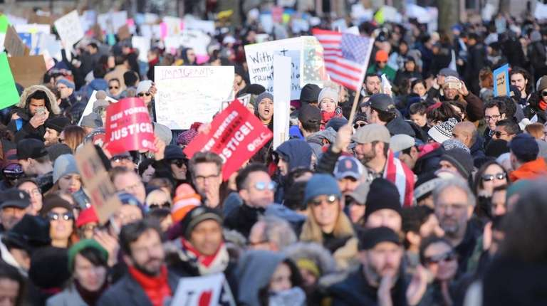 Protesters in lower Manhattan's Battery Park on Sunday,