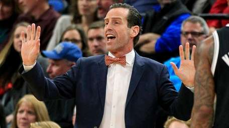 Brooklyn Nets coach Kenny Atkinson gestures during the