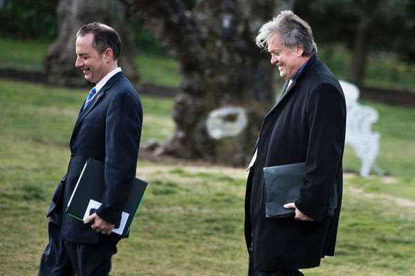 White House Chief of Staff Reince Priebus, left,