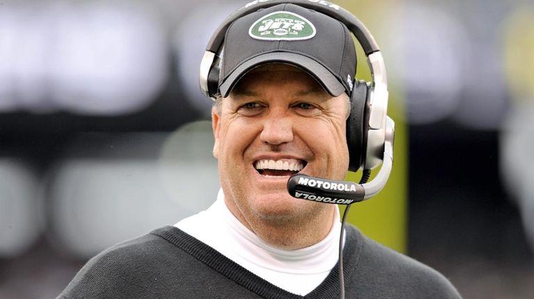 Jets head coach Rex Ryan smiles on the
