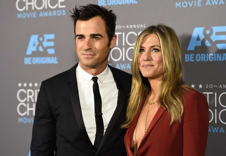 Jennifer Aniston and husband actor Justin Theroux arrive