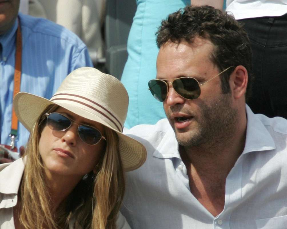 Jennifer Ariston and actor Vince Vaughn watch Spain's