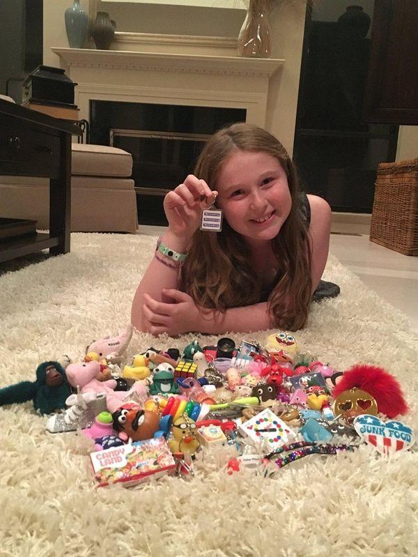 Kidsday reporter Elana Rosenblatt with her keychain collection.