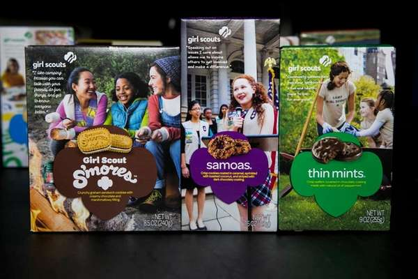 Girl Scout Cookies: S'mores, Samoas and Thin Mints.