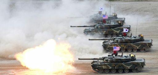 A South Korean marine K1 tank fires during