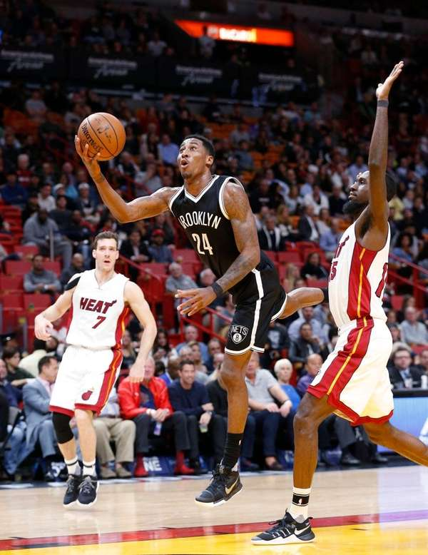 Brooklyn Nets forward Rondae Hollis-Jefferson goes up for