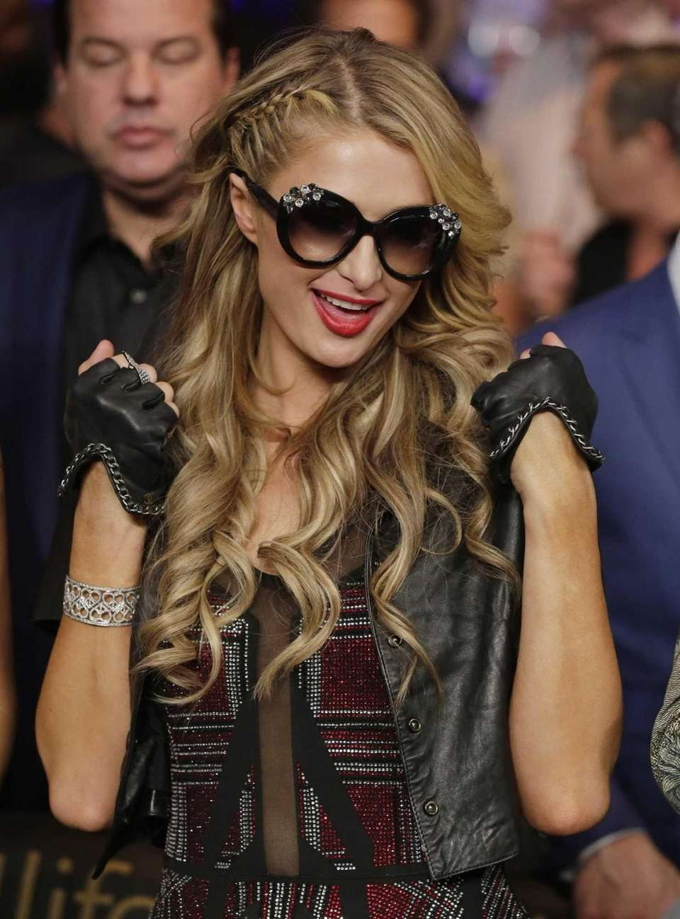 Paris Hilton enters the arena before the start