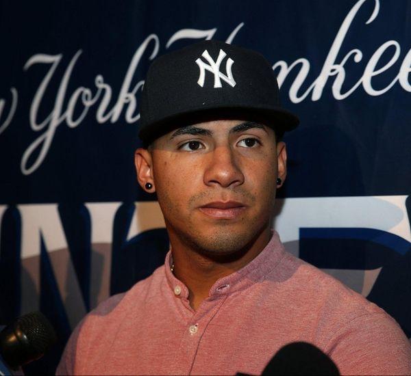 New York Yankees prospect Gleyber Torres talks to