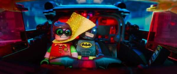 Robin (voiced by Michael Cera), left, and Batman