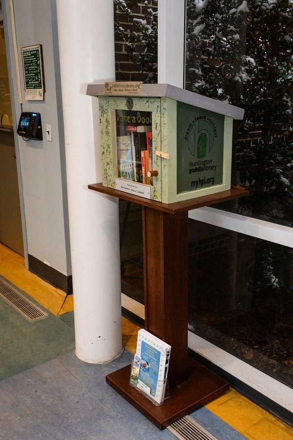 The Little Free Library box is installed in