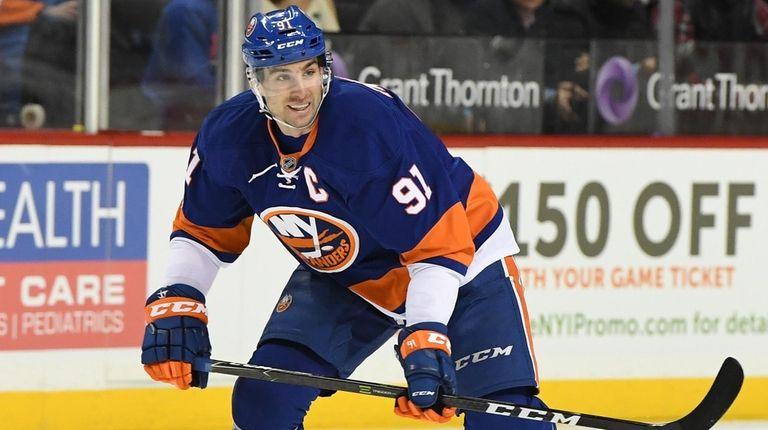 New York Islanders center John Tavares skates against