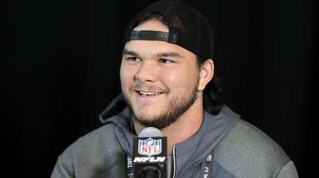 Jake Matthews of the Atlanta Falcons addresses