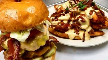 The Double Trouble burger (two 5-ounce patties with