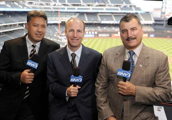 SNY announcers Ron Darling, Gary Cohen and Keith