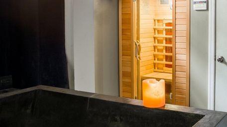 The sauna and soaking tub are close to