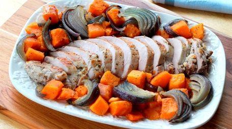 Pork tenderloin, butternut squash and red onion roasted