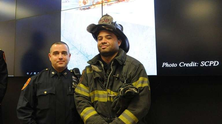 Elmont firefighter Jeffrey Dupoux and Suffolk County Highway