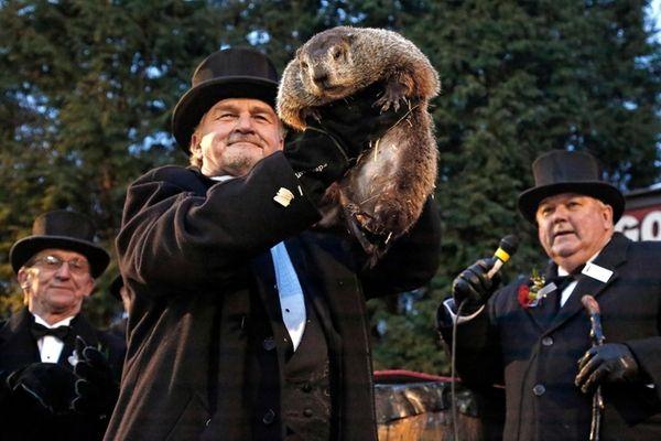 Groundhog Club handler John Griffiths, center, holds Punxsutawney