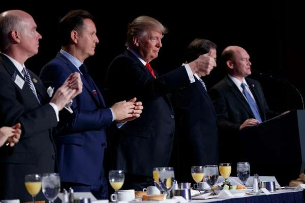 President Donald Trump during the National Prayer Breakfast,