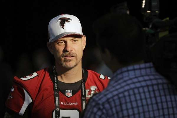 Matt Bryant of the Atlanta Falcons speaks with the