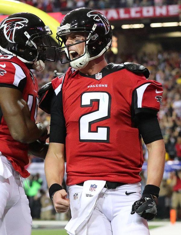 Atlanta Falcons quarterback Matt Ryan reacts to scoring