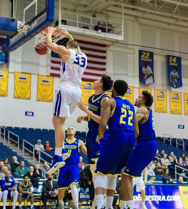 Hofstra Pride forward Hunter Sabety (33) dunks on