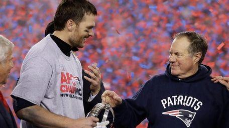 New England Patriots quarterback Tom Brady and coach