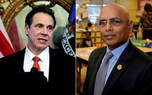 Gov. Andrew M. Cuomo, left, and Freeport schools