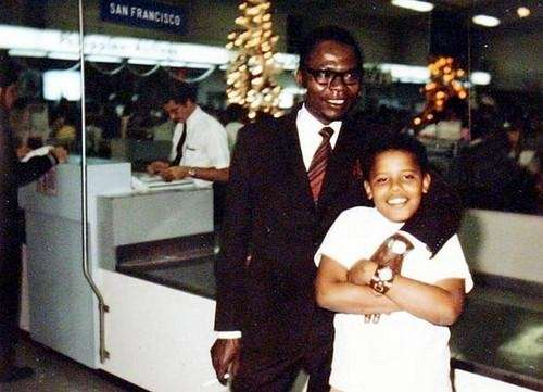 Obama, 10, with his father, Barack Obama Sr.