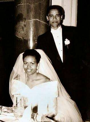 Barack Obama and his bride Michelle Robinson, a