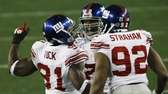 Osi Umenyiora, center, Justin Tuck and Michael Strahan