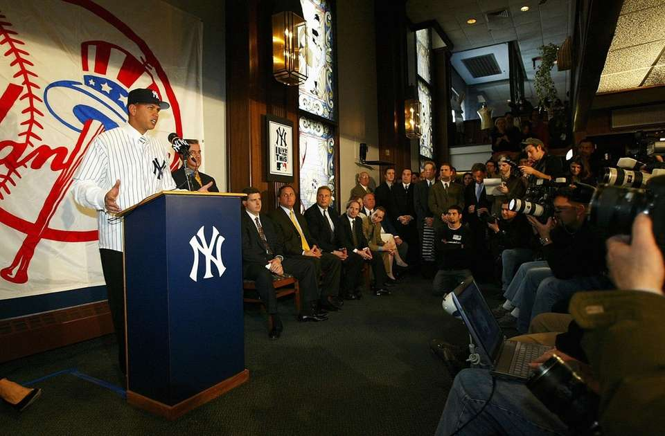 Alex Rodriguez speaks at a news conference that