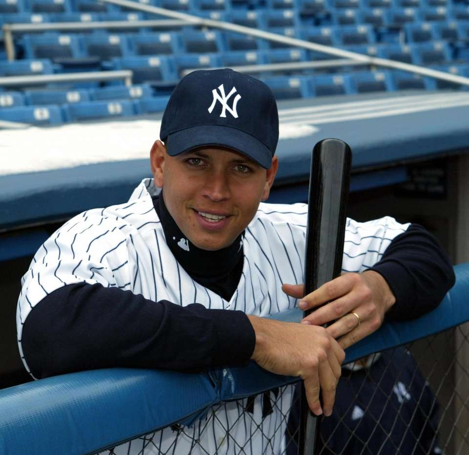 Alex Rodriguez poses in Yankee Stadium the day
