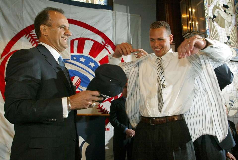 Alex Rodriguez puts on a New York Yankees