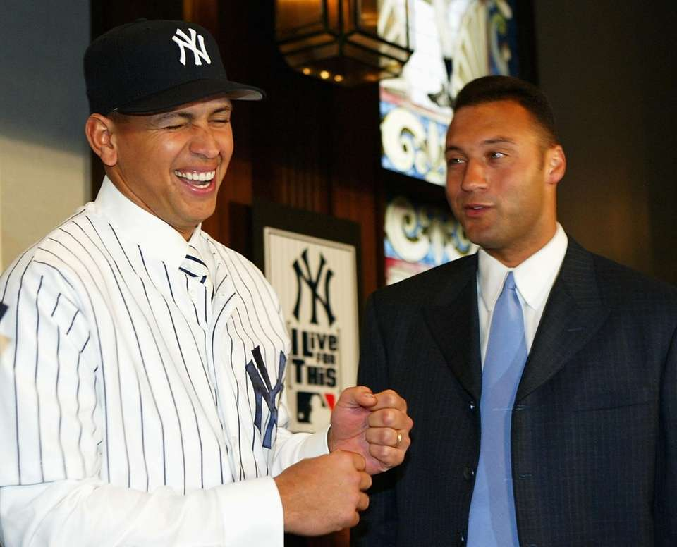 Alex Rodriguez and Derek Jeter joke at a
