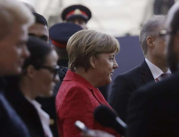 German Chancellor Angela Merkel arrives for an EU