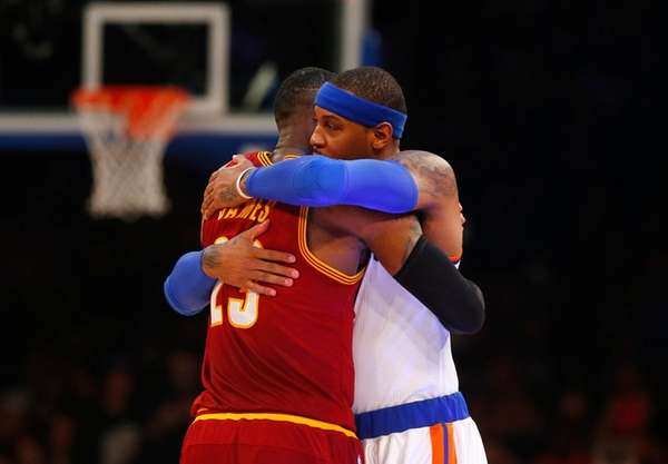 Carmelo Anthony of the New York Knicks greets