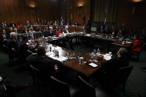 Members of the Senate Judiciary Committee participate in