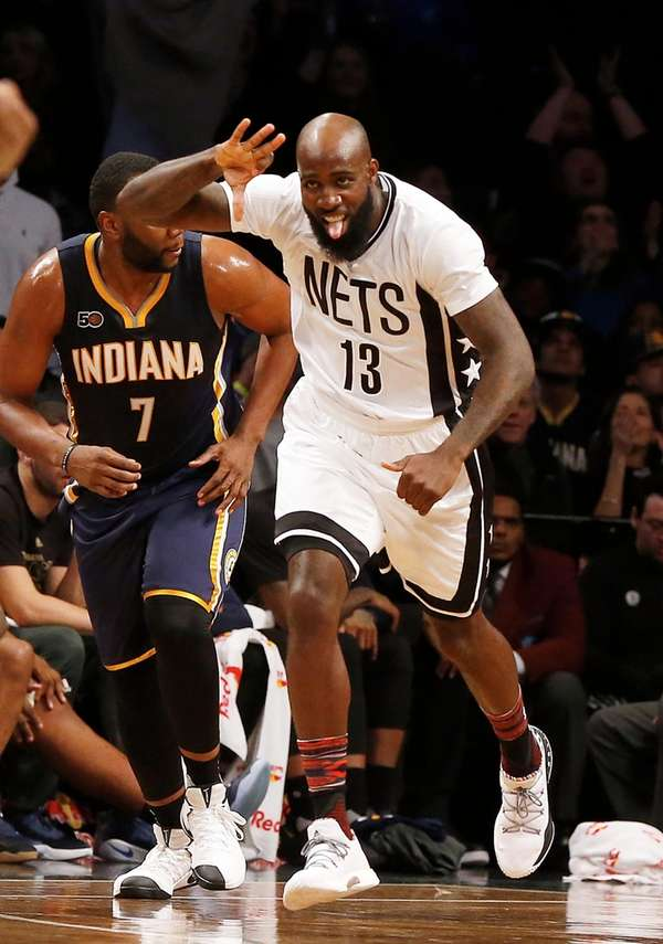 Quincy Acy (13) of the Brooklyn Nets reacts