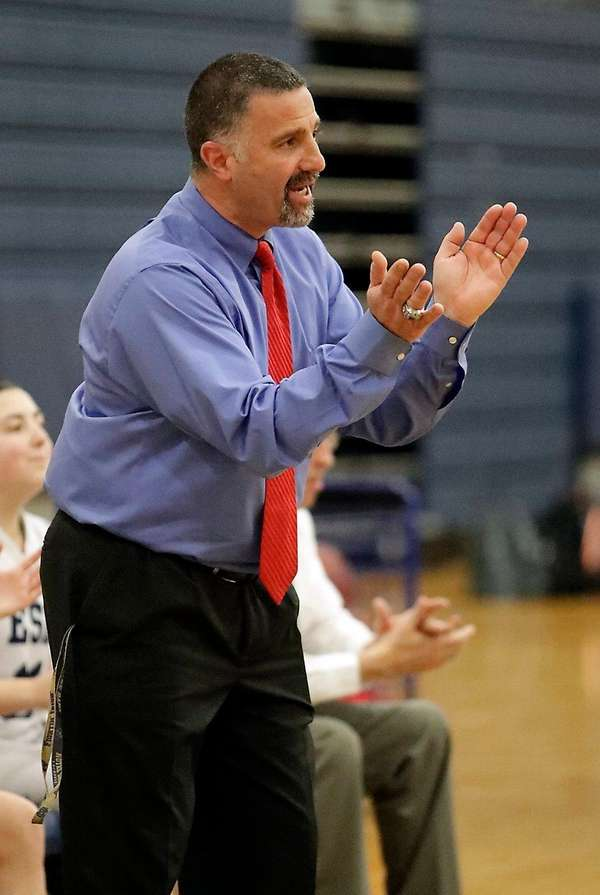 Coaching from the sidelines, Eastport-South Manor girls varsity