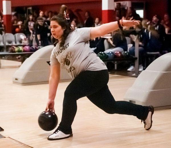 Syosset's Mackenzie Wagner bowls at the Nassau High