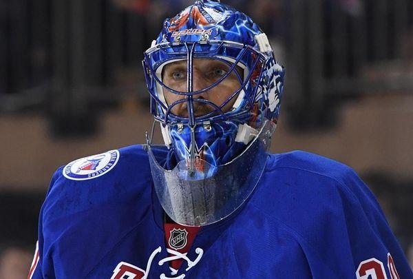 New York Rangers goalie Henrik Lundqvist looks on