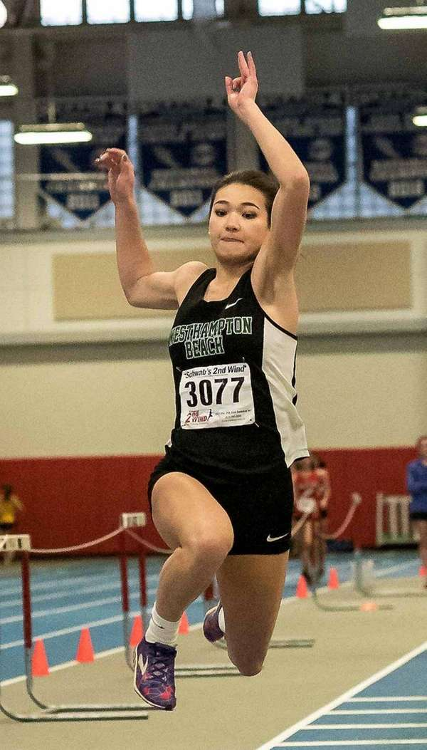 Westhampton's Sarena Choi competes in the long jump