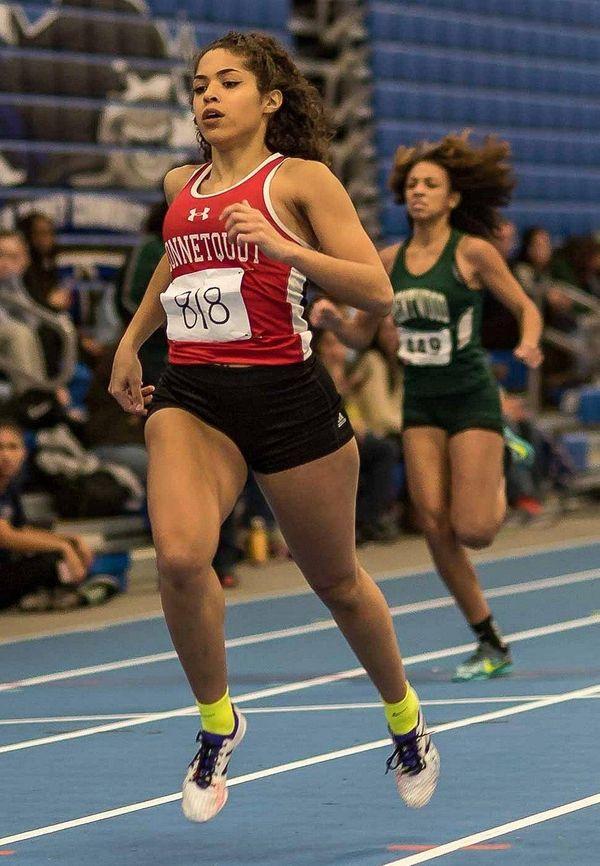 Connetquot's Bryana Paldula runs the 300-meter dash during